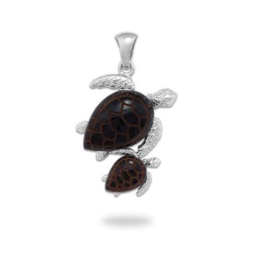 Honu Black Coral Pendant in White Gold - 16mm
