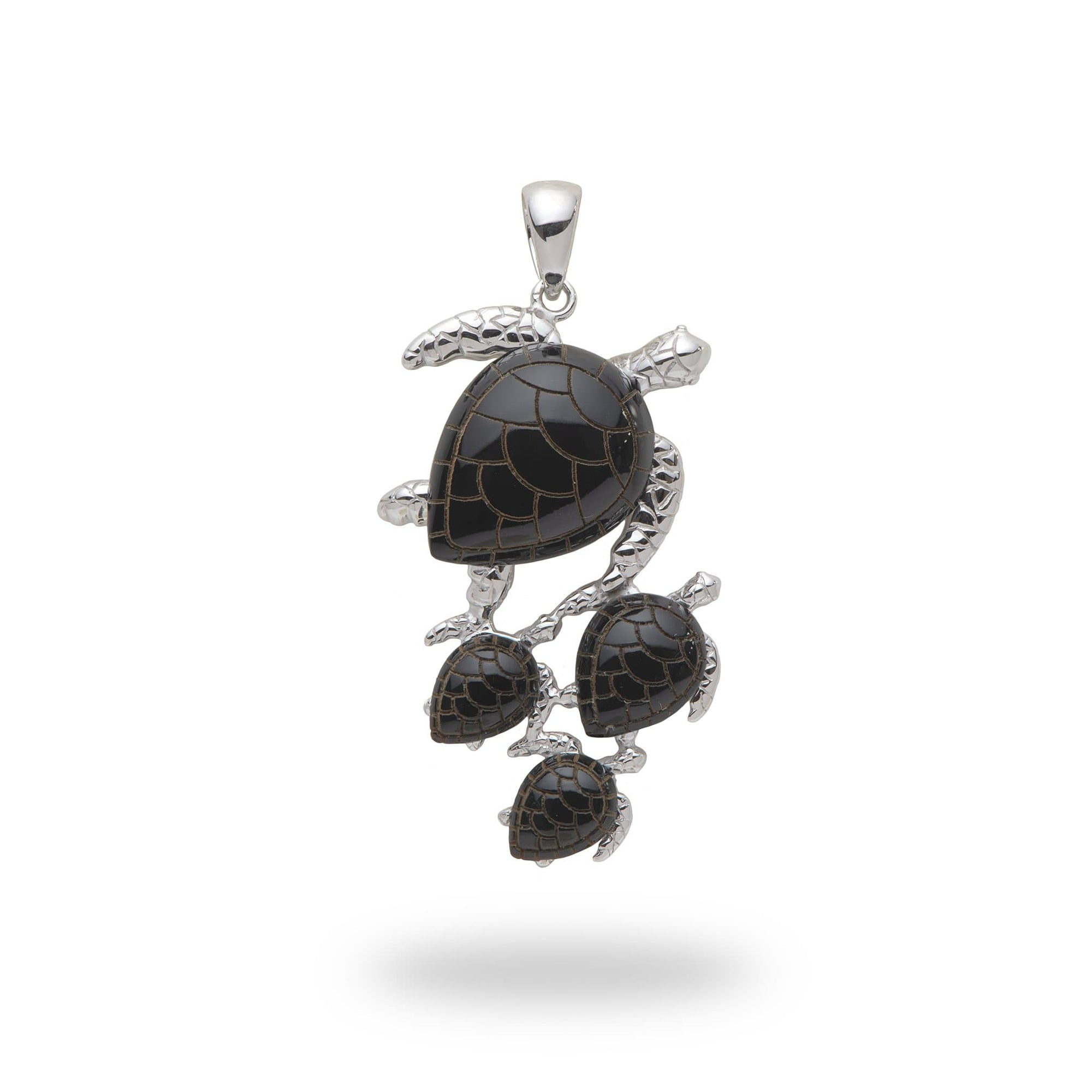 Black Coral Turtle Pendant in 14K White Gold - Maui Divers Jewelry