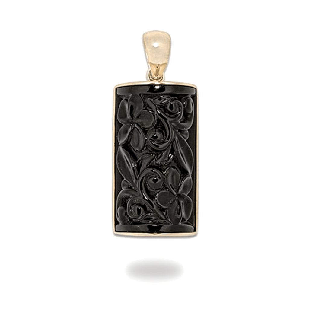 Black Coral Pendant in 14K Yellow Gold - 12mm