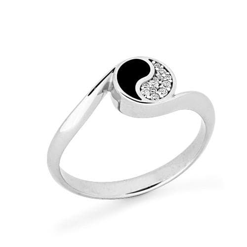 Black Coral Yin Yang Ring with Diamonds in 14K White Gold - 7.5mm