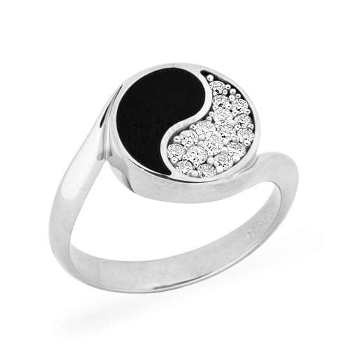 Black Coral Yin Yang Ring with Diamonds in 14K White Gold - 12mm