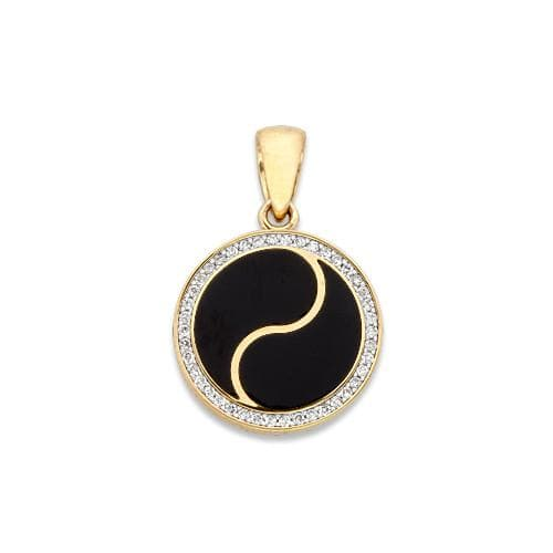 Black Coral Yin Yang Pendant with Diamonds in 14K Yellow Gold - 16mm