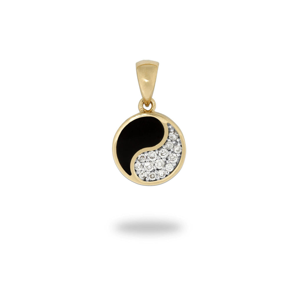 Black Coral Yin Yang Pendant with Diamonds in 14K Yellow Gold - 10mm