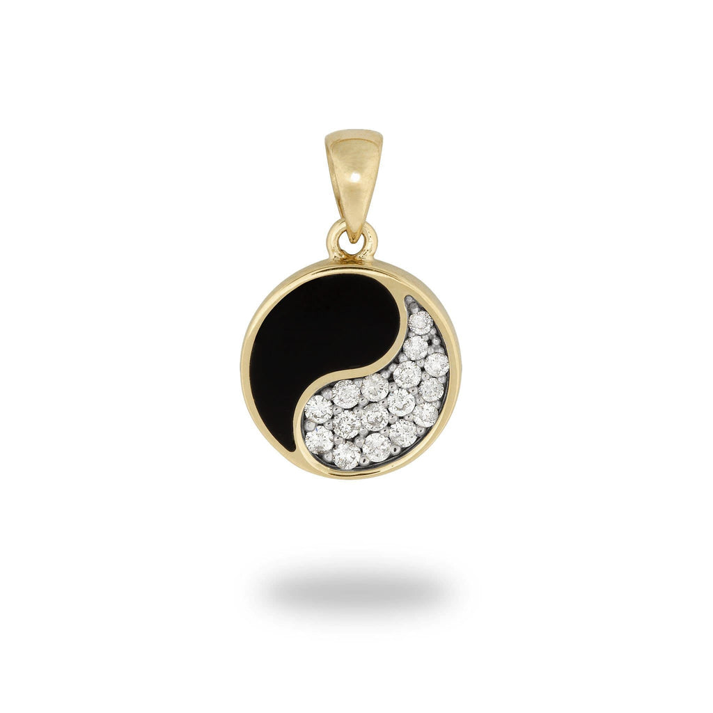 Black Coral Yin Yang Pendant with Diamonds in 14K Yellow Gold - 12mm