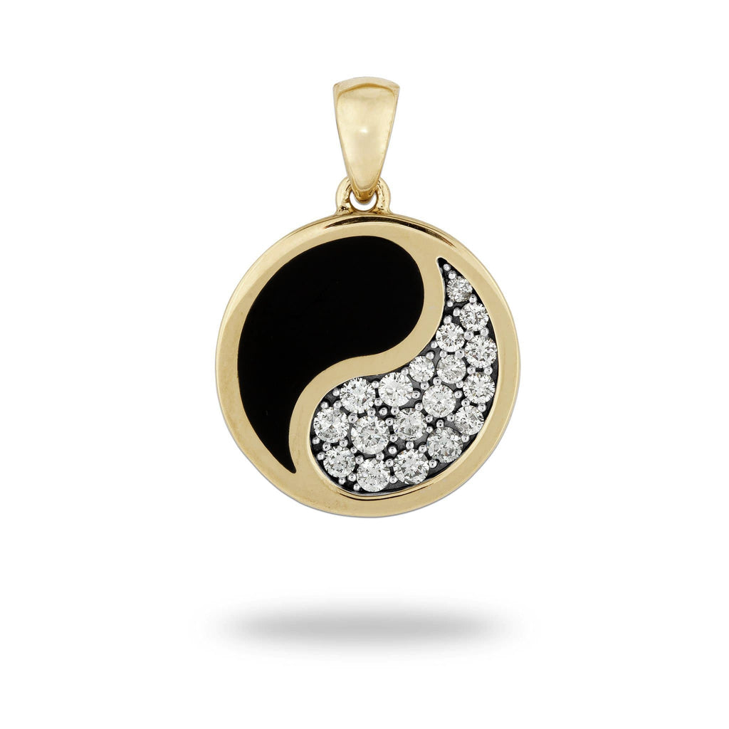 Black Coral Yin Yang Pendant with Diamonds in 14K Yellow Gold - 18.5mm