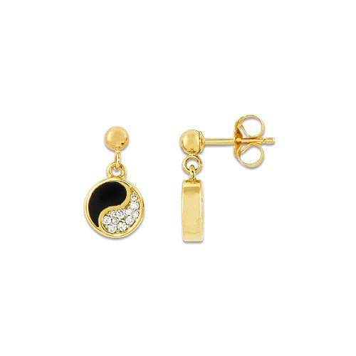 Black Coral Yin Yang Earrings with Diamonds in 14K Yellow Gold - 7.5mm
