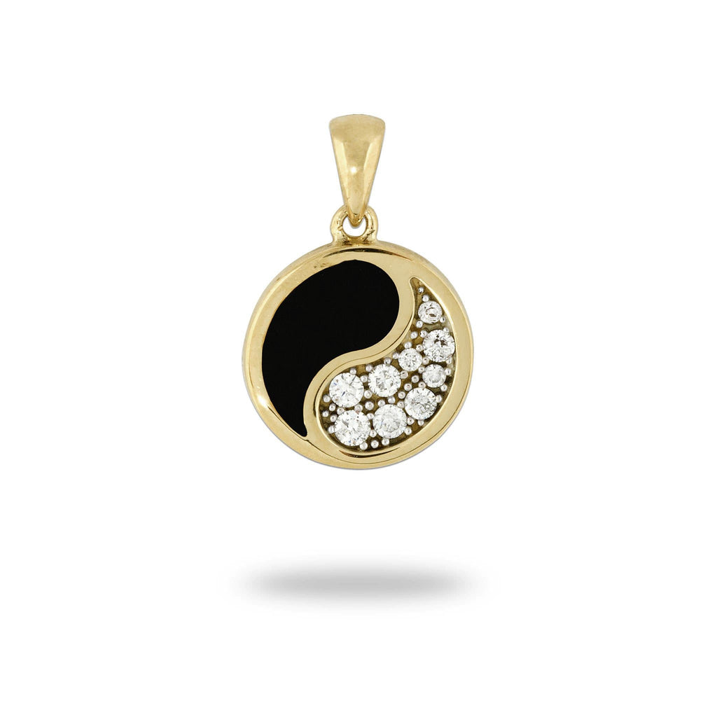 Black Coral Yin Yang Pendant with Diamonds in 14K Yellow Gold - 13mm