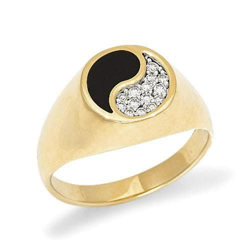 Black Coral Yin Yang Ring with Diamonds in 14K Yellow Gold - 10mm