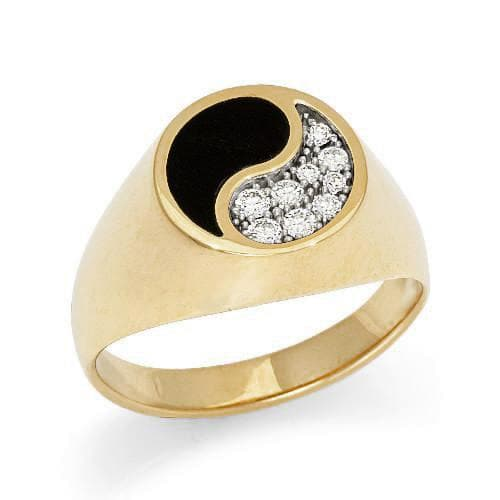 black coral yin yang ring with diamonds in 14k yellow gold