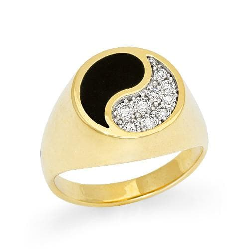 Black Coral Yin Yang Ring with Diamonds in 14K Yellow Gold - 15mm
