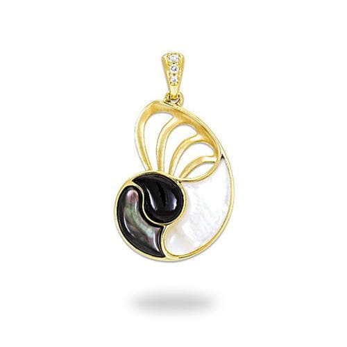 Black Coral with Diamonds and Mother of Pearl Nautilus Pendant in 14K Yellow Gold - 22mm