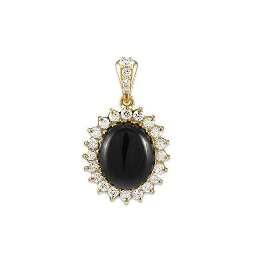 Black Coral Pendant with Diamonds in 14K Yellow Gold