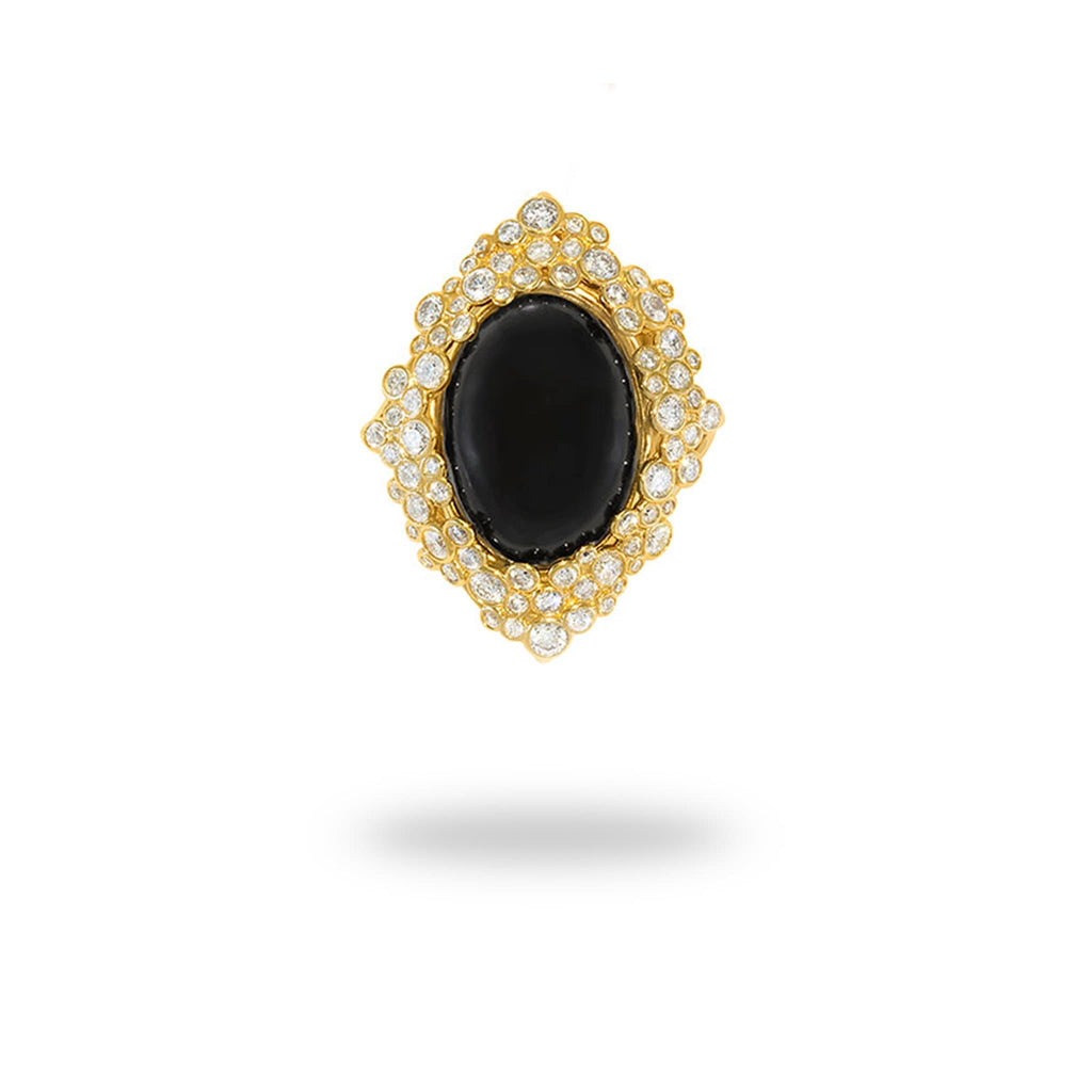 Black Coral Pendant in 14K Yellow Gold with Diamonds - Maui Divers Jewelry