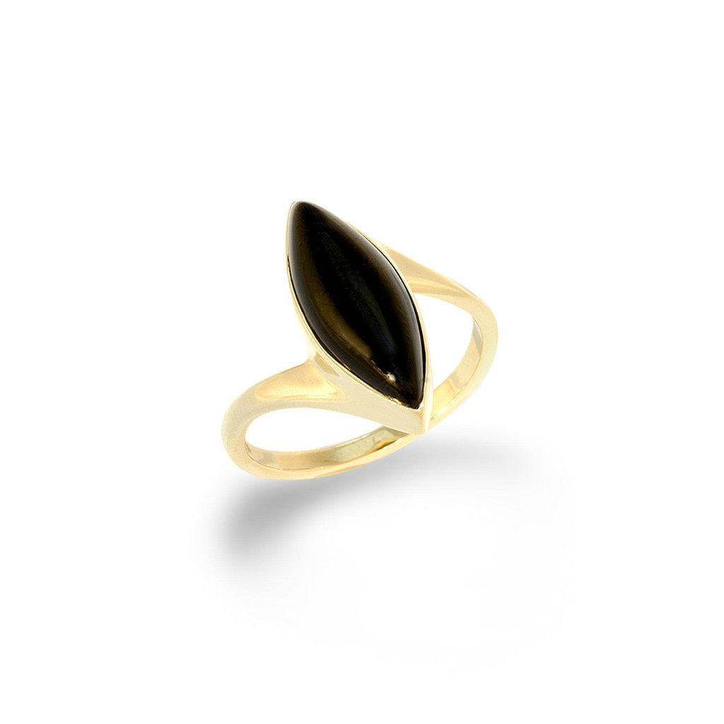 Marquise Black Coral Bypass Ring in 14K Yellow Gold-[SKU]