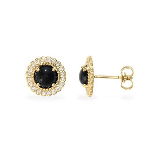 Black Coral Earrings with Diamonds in 14K Yellow Gold