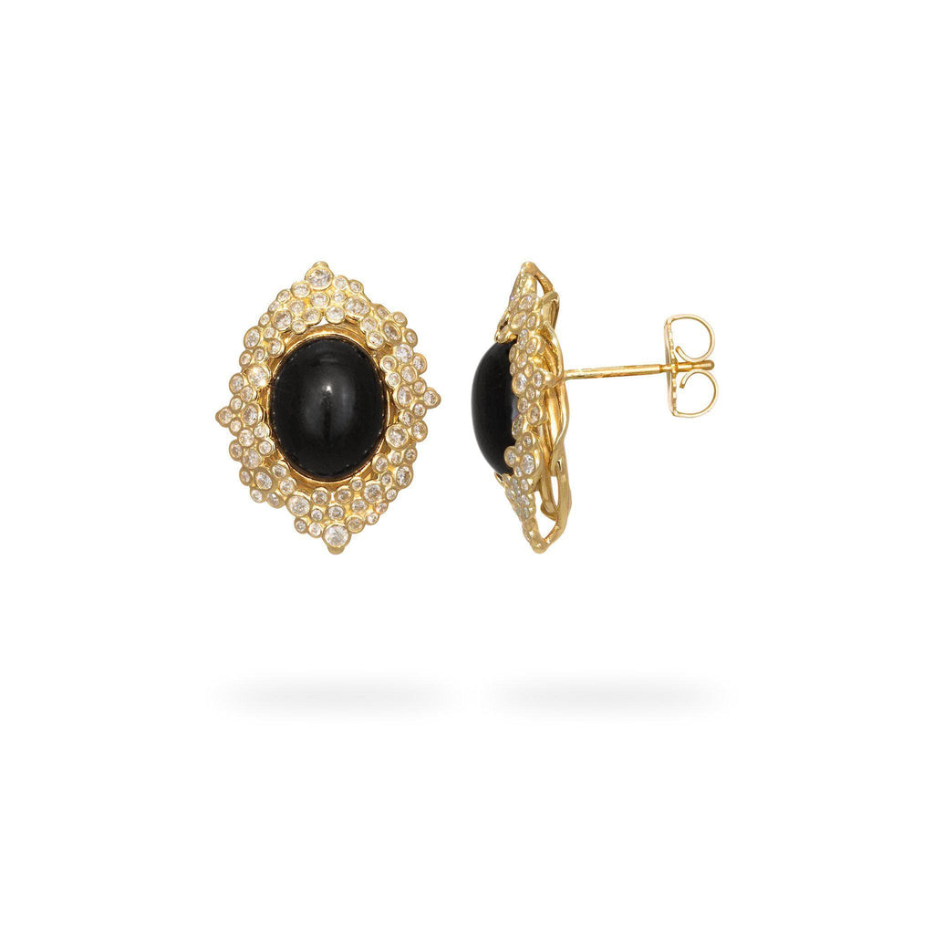 Bubble Black Coral Earrings with Diamonds in 14K Yellow Gold-[SKU]