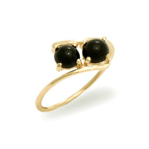 Black Coral Ring in 14K Yellow Gold