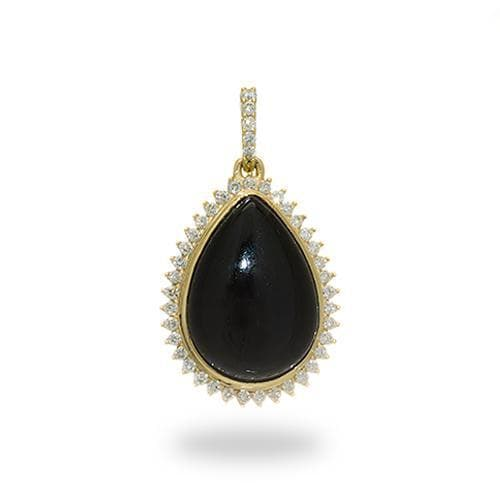 Black Coral Pendant with Diamonds in 14K Yellow Gold-[SKU]
