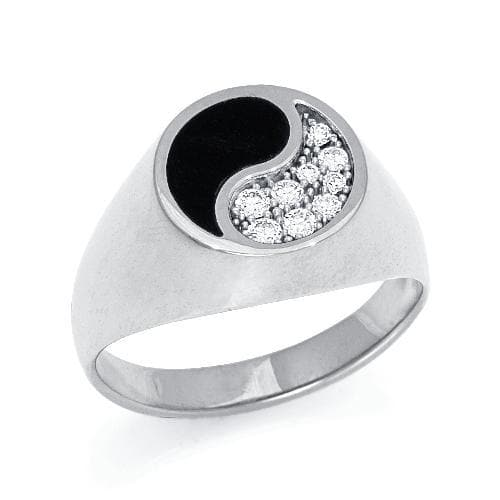Black Coral Yin Yang Ring with Diamonds in 14K White Gold