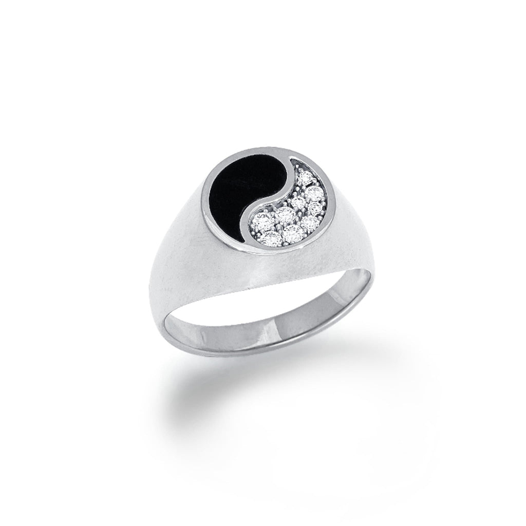 Black Coral Yin Yang Ring with Diamonds in 14K White Gold - Maui Divers Jewelry