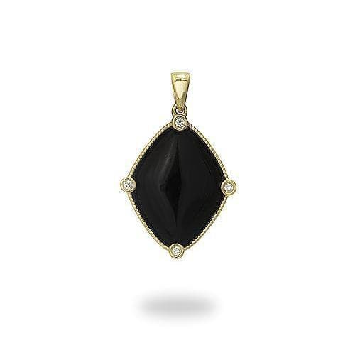 Black Coral Pendant in Gold with Diamonds