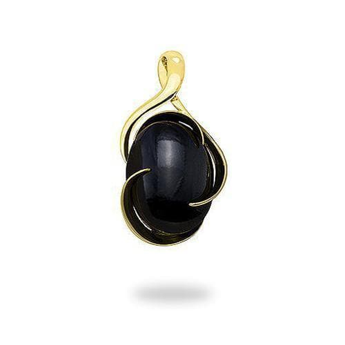 Black Coral Midnight Wave Bypass Pendant in Gold Medium-Maui Divers Jewelry