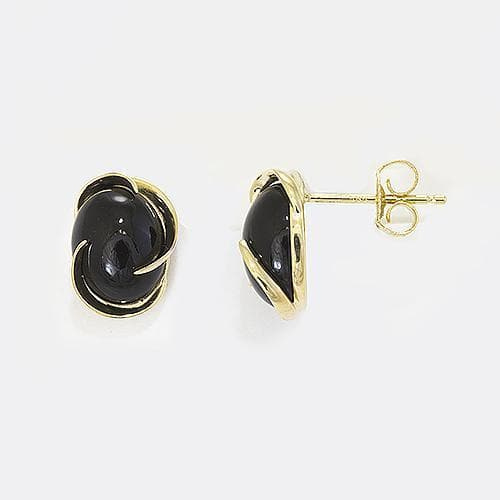 Black Coral Midnight Wave Bypass Earrings in 14K Yellow Gold