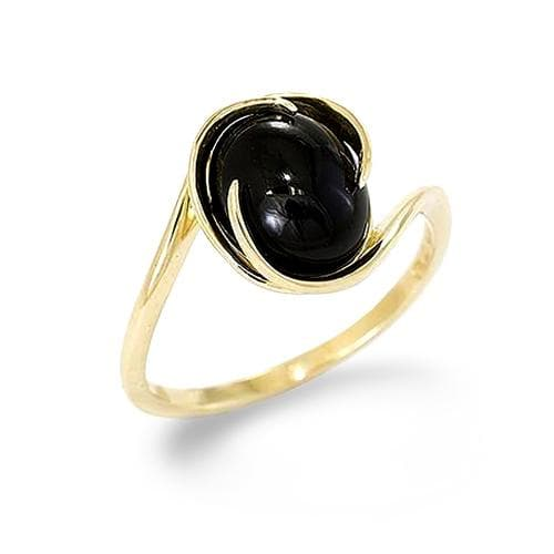 Black Coral Midnight Wave Ring in 14K Yellow Gold 015-06903