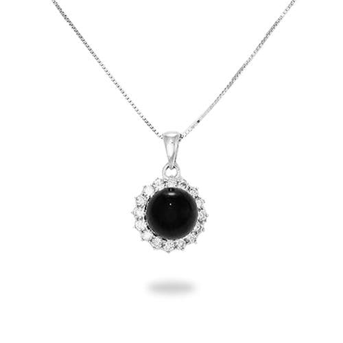 Black Coral Necklace in 14K White Gold - Maui Divers Jewelry