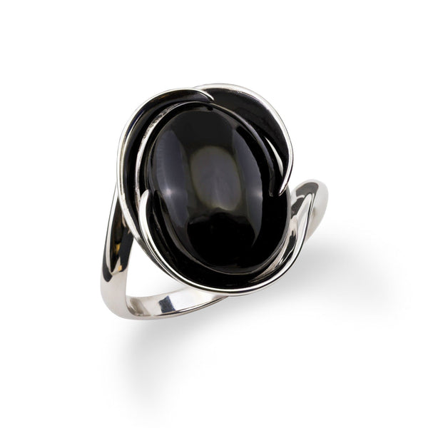 Black Coral Midnight Wave Bypass Ring in 14K White Gold - Maui Divers Jewelry