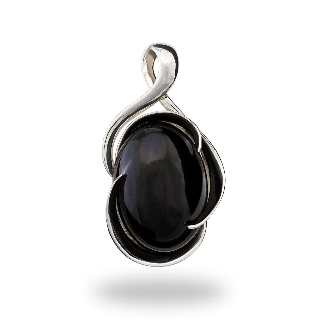 Black Coral Midnight Wave Bypass Pendant in 14K White Gold-[SKU]