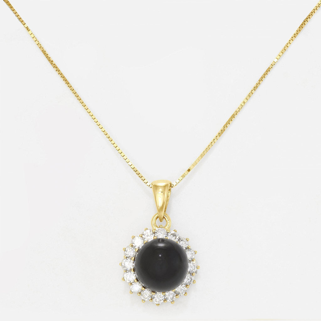 Black Coral Necklace in 14K Yellow Gold