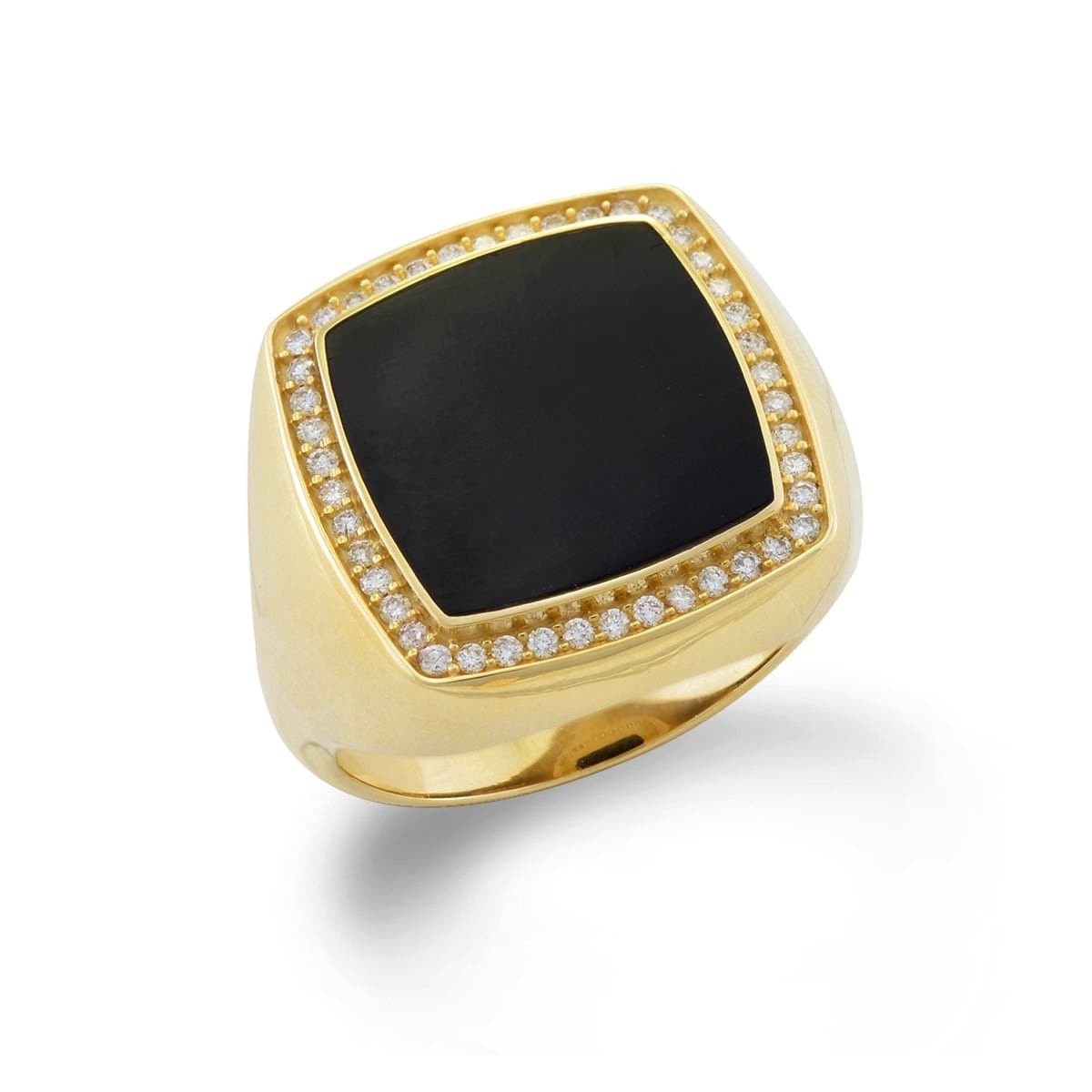 Black Coral Ring in 14K Yellow Gold with Diamonds-015-06924