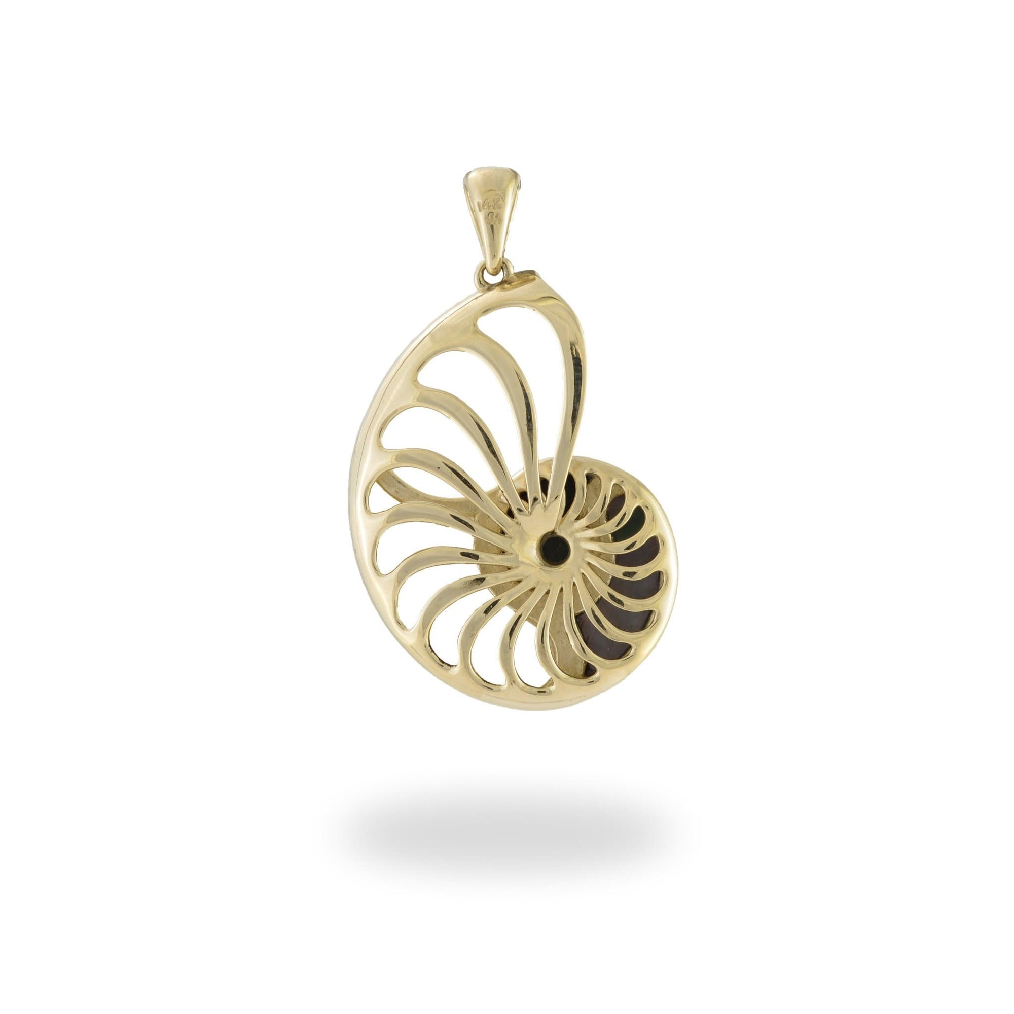Black Coral with Diamonds and Mother of Pearl Nautilus Pendant in 14K Yellow Gold - 28mm - Maui Divers Jewelry