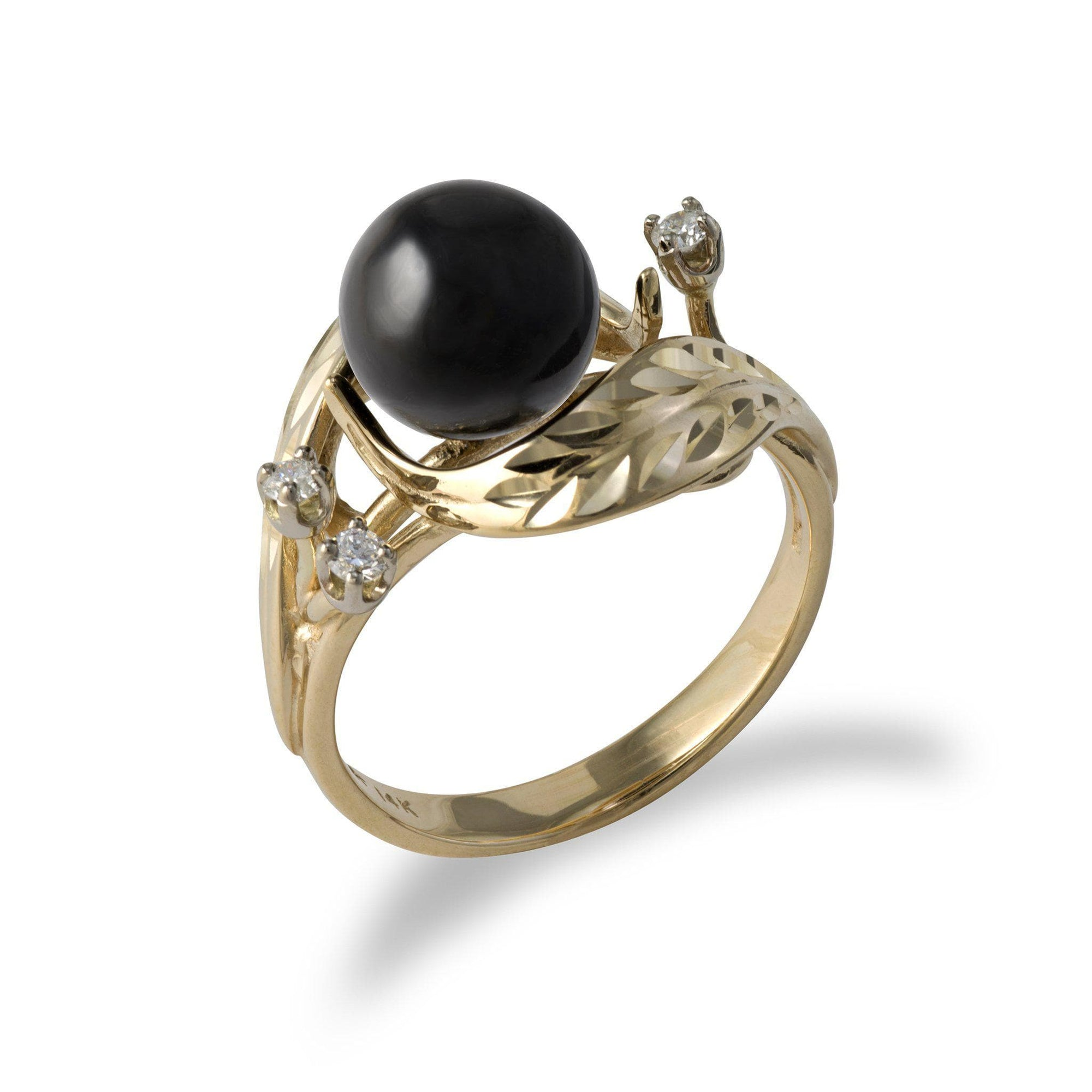 Maile Black Coral Ring with Diamonds in 14K Yellow Gold-[SKU]