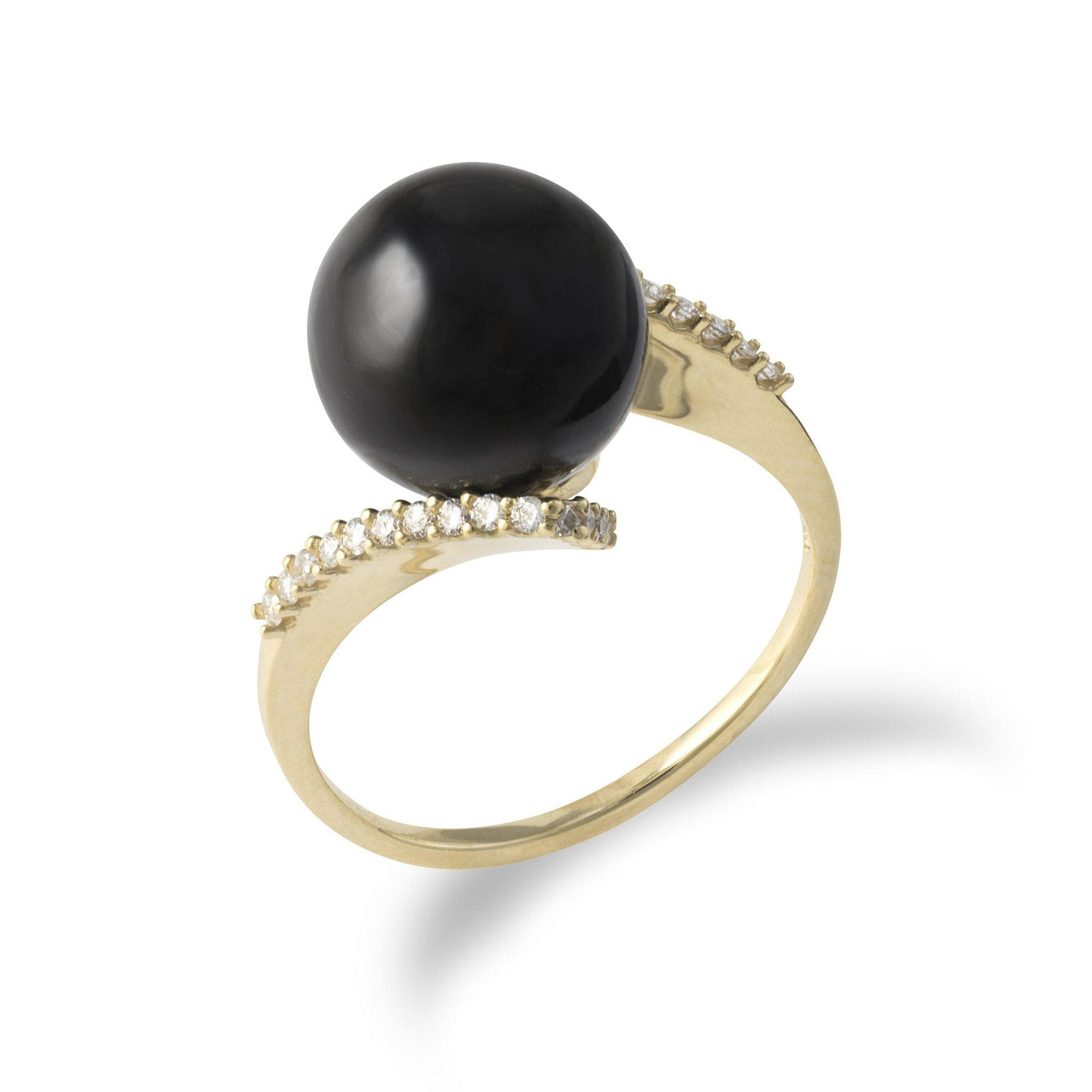 Black Coral Ring with Diamonds in 14K Yellow Gold-[SKU]