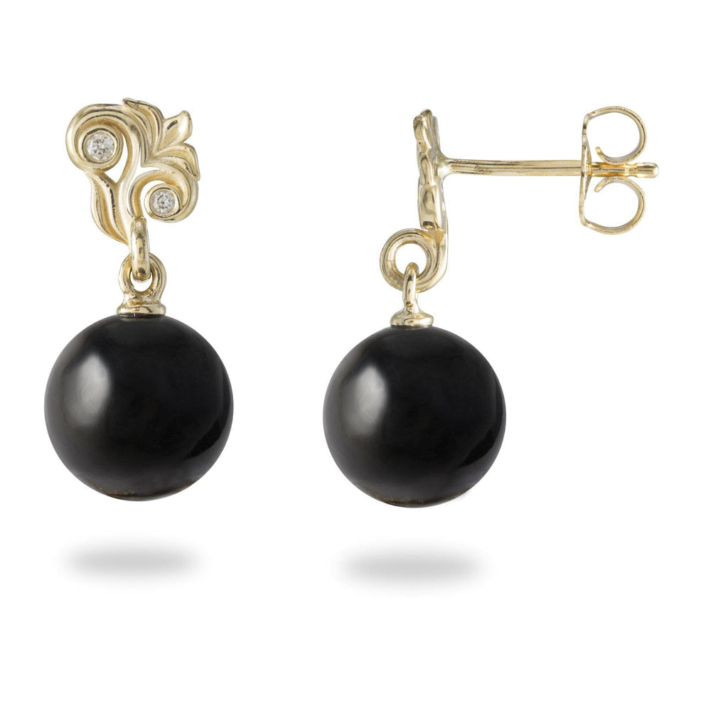 Hawaiian Heirloom Black Coral Earrings with Diamonds in 14K Yellow Gold