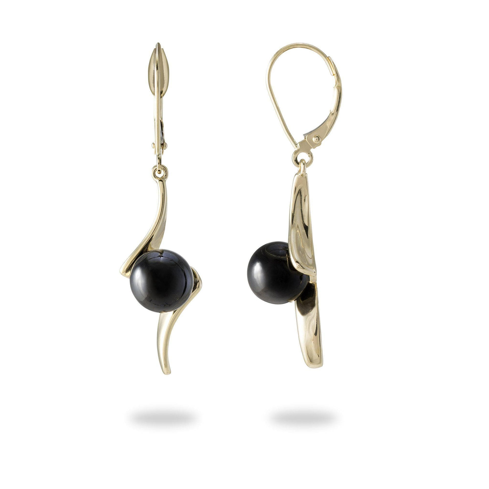 Black Coral Earrings in 14K Yellow Gold-[SKU]