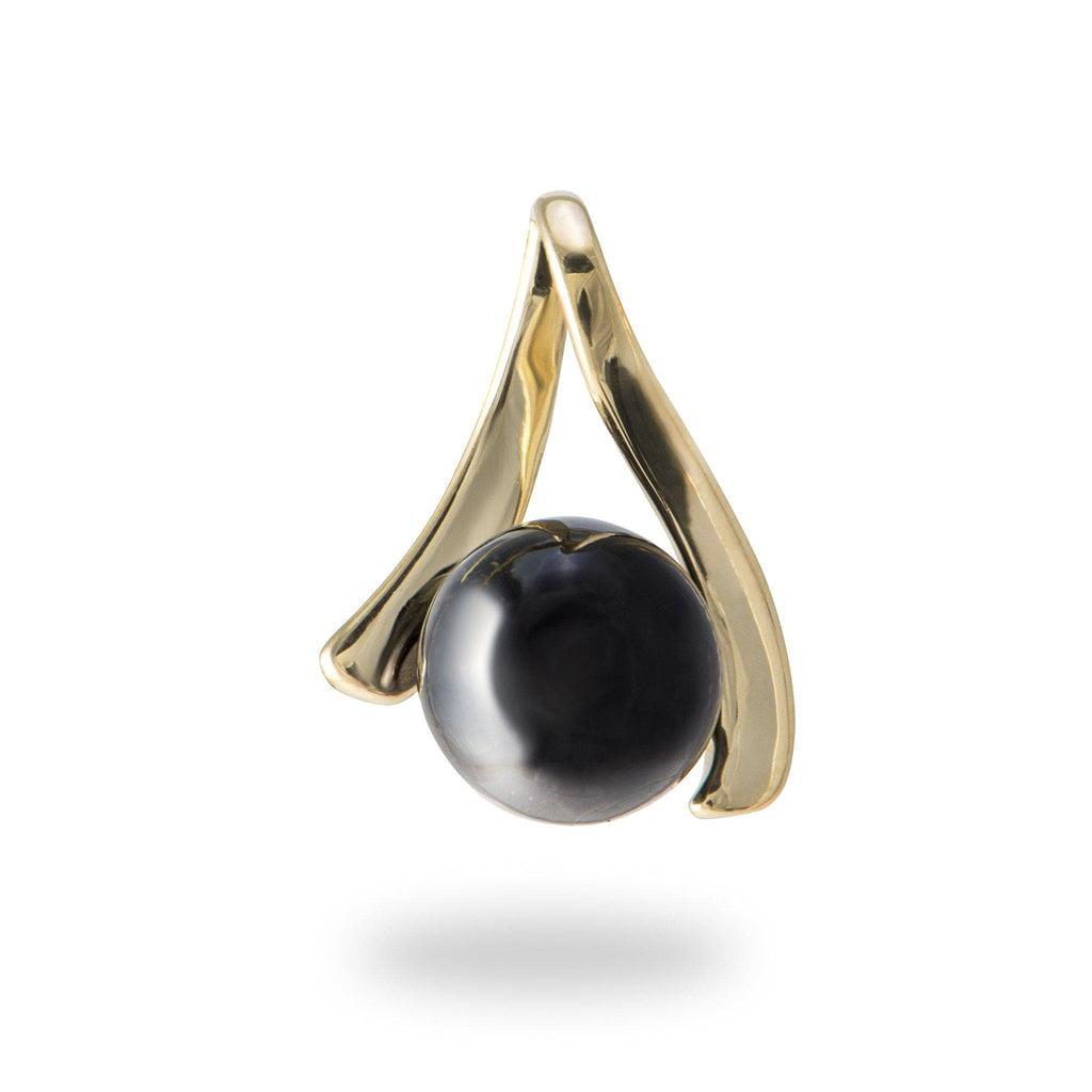Wishbone Black Coral Pendant in 14K Yellow Gold-[SKU]