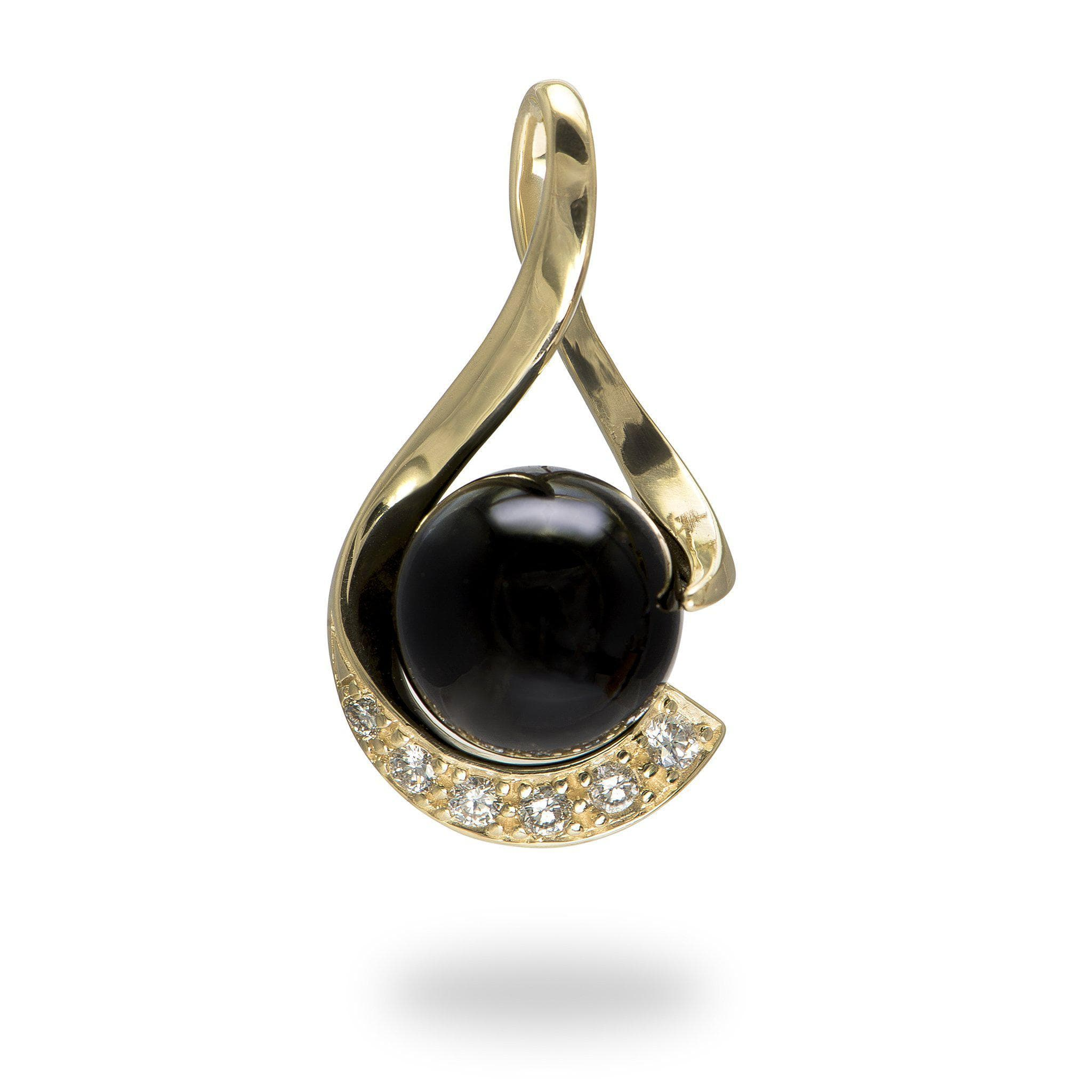 Black coral beads black coral pendant with diamonds in 14k yellow gold mozeypictures Gallery