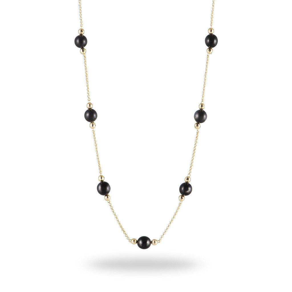 Black Coral Necklace in 14K Yellow Gold (8-8.9mm) - Maui Divers Jewelry