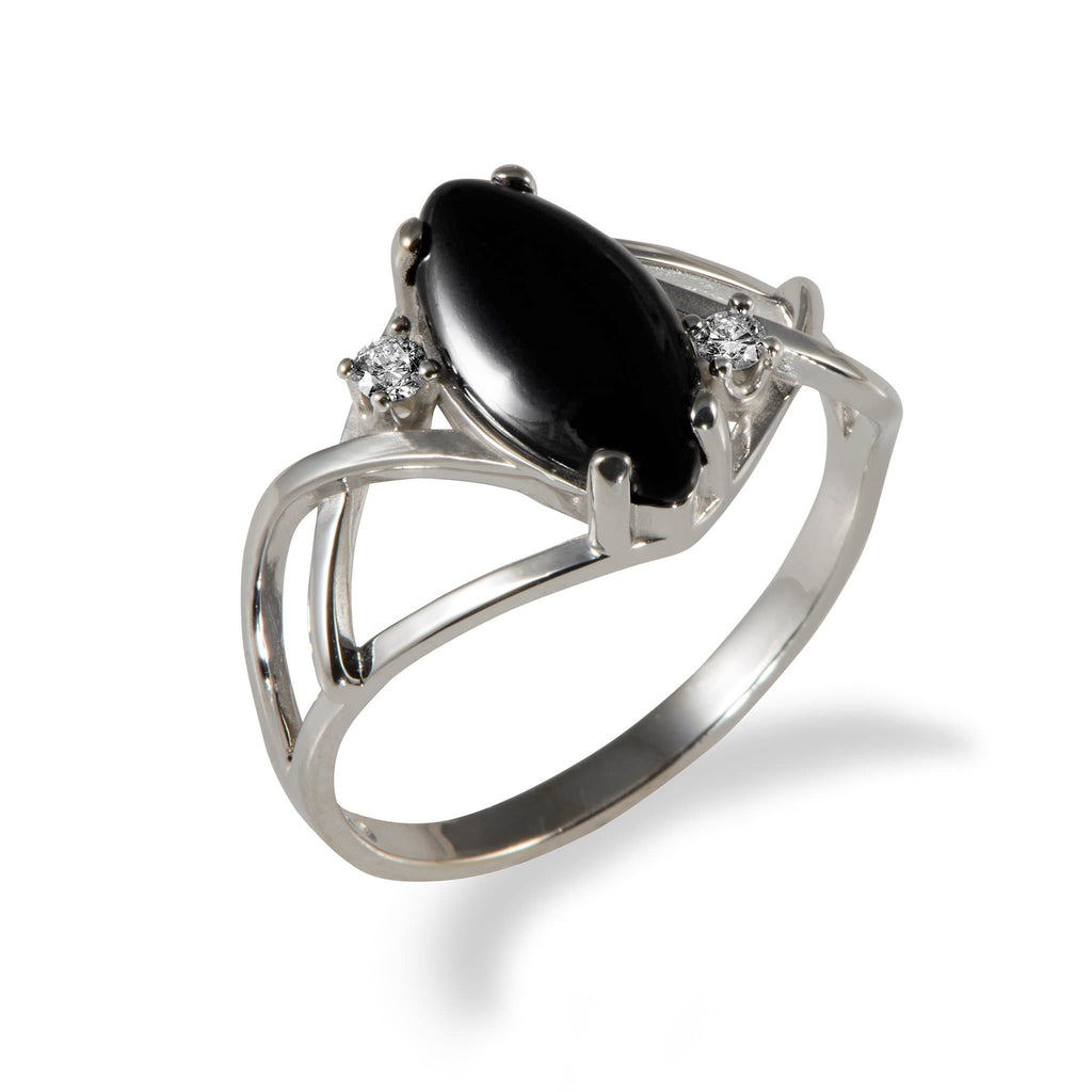 Black Coral Ring with Diamonds in 14K White Gold - Maui Divers Jewelry