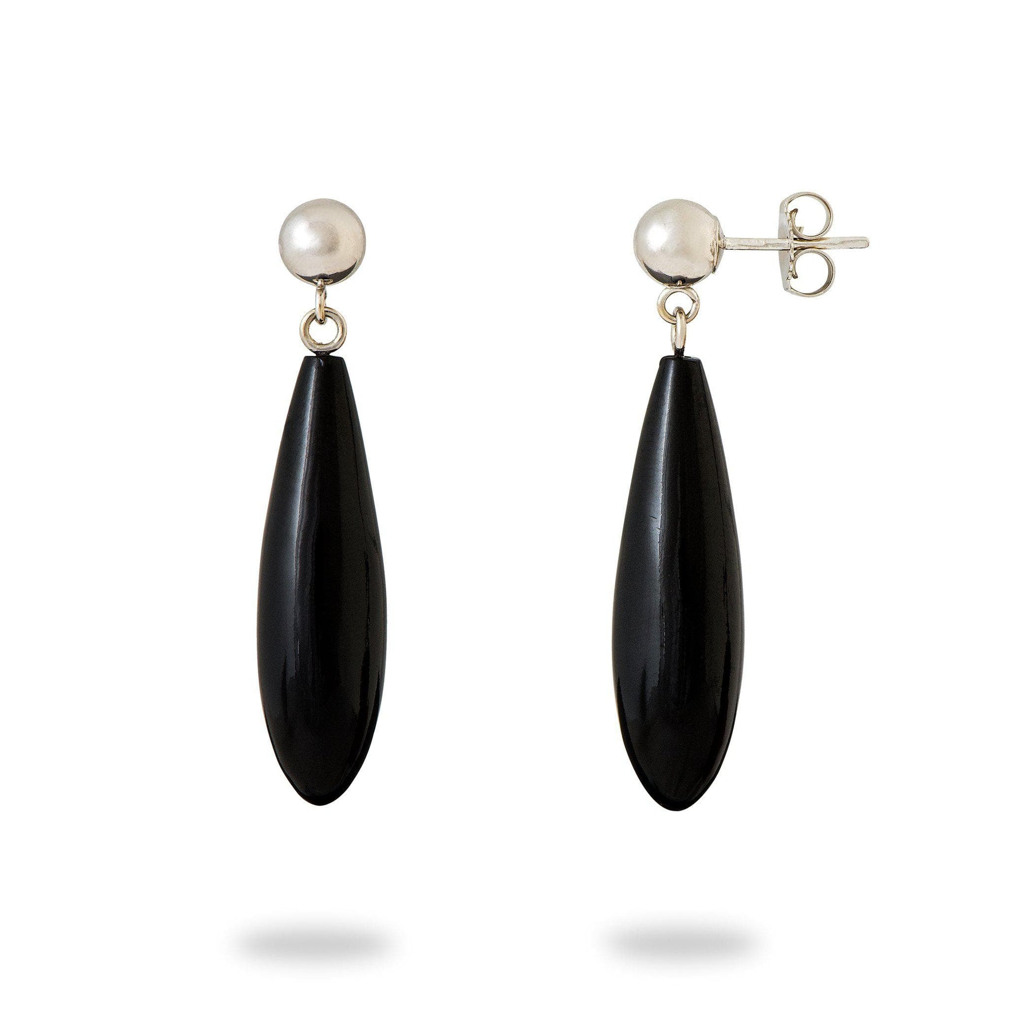 Black Coral Earrings in 14K White Gold-[SKU]