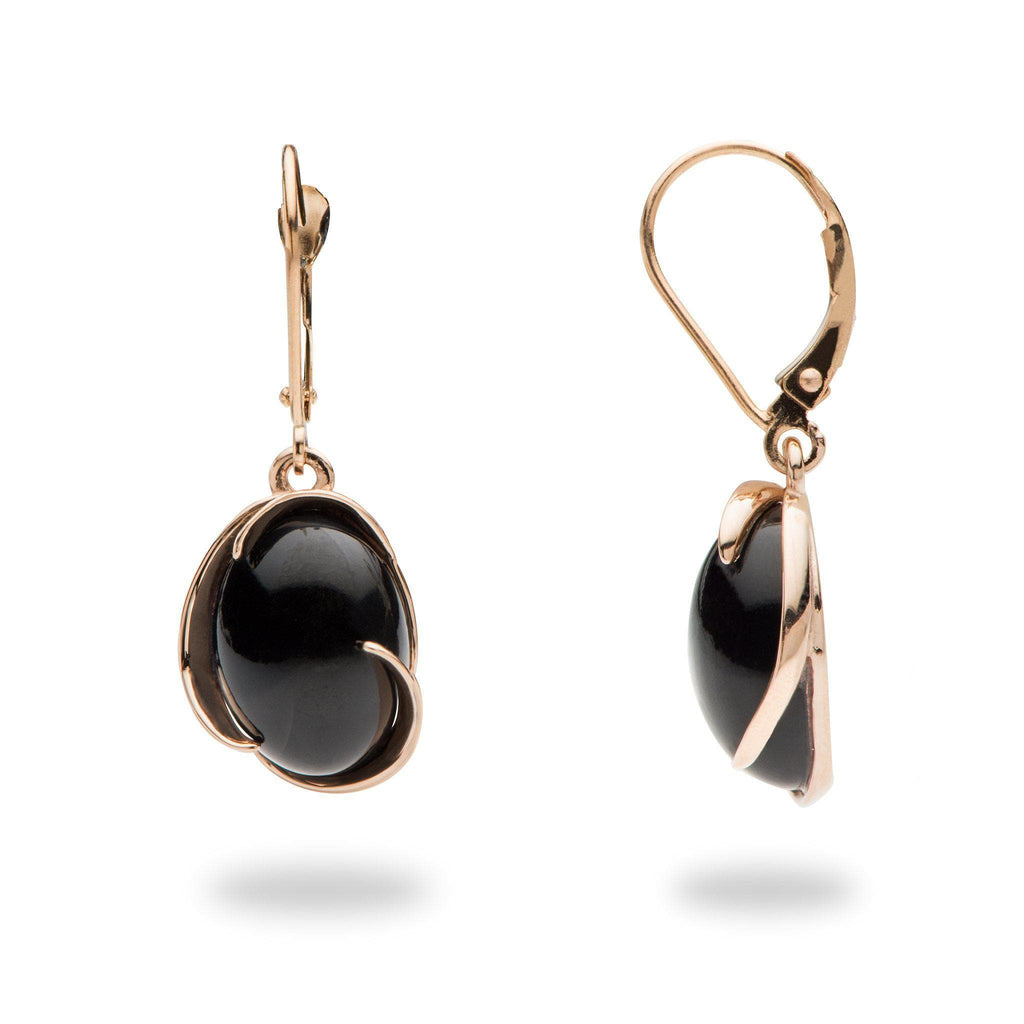 Black Coral Midnight Wave Bypass Earrings in 14K Rose Gold