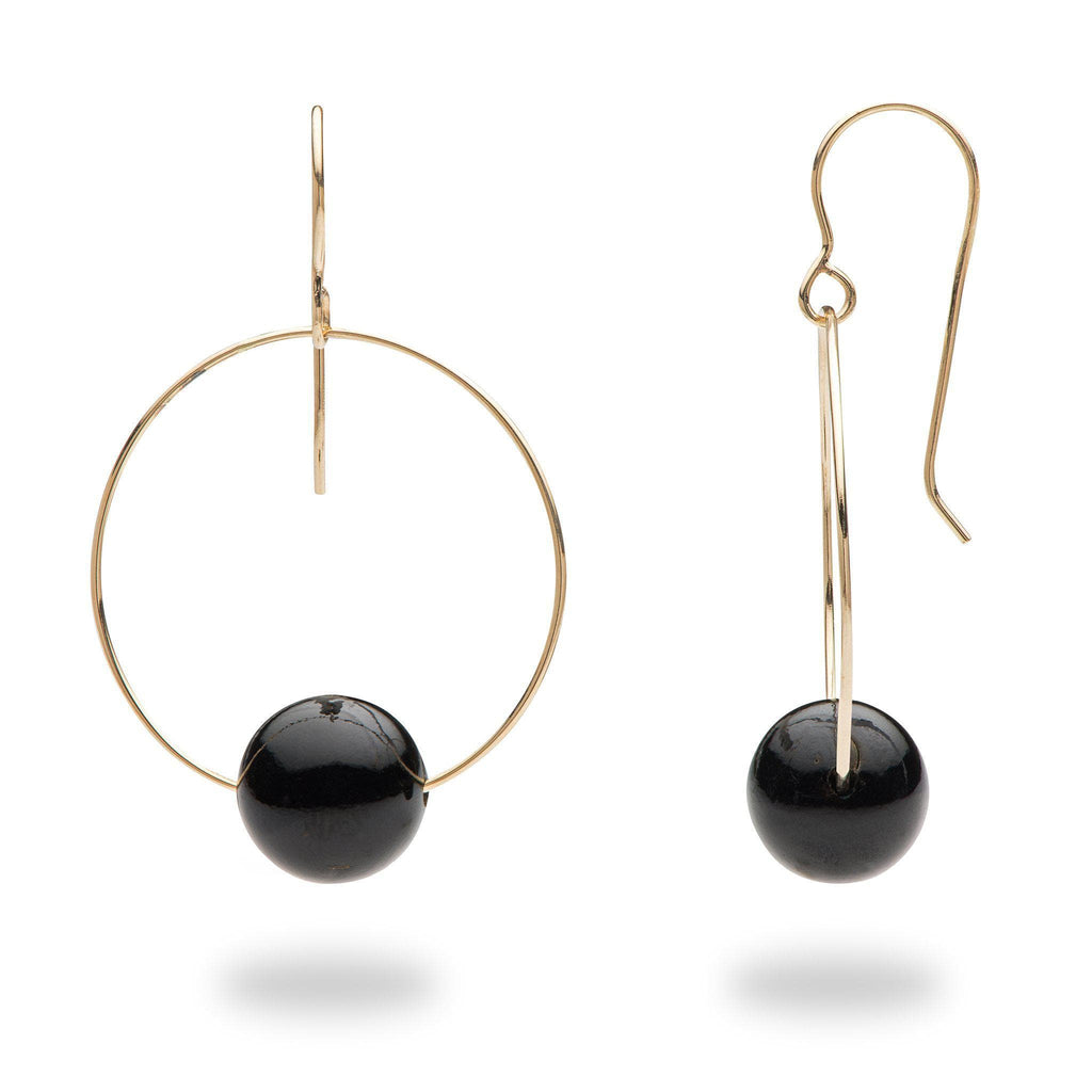 Hawaiian Black Coral Earrings in 14K Yellow Gold (9-9.9mm)
