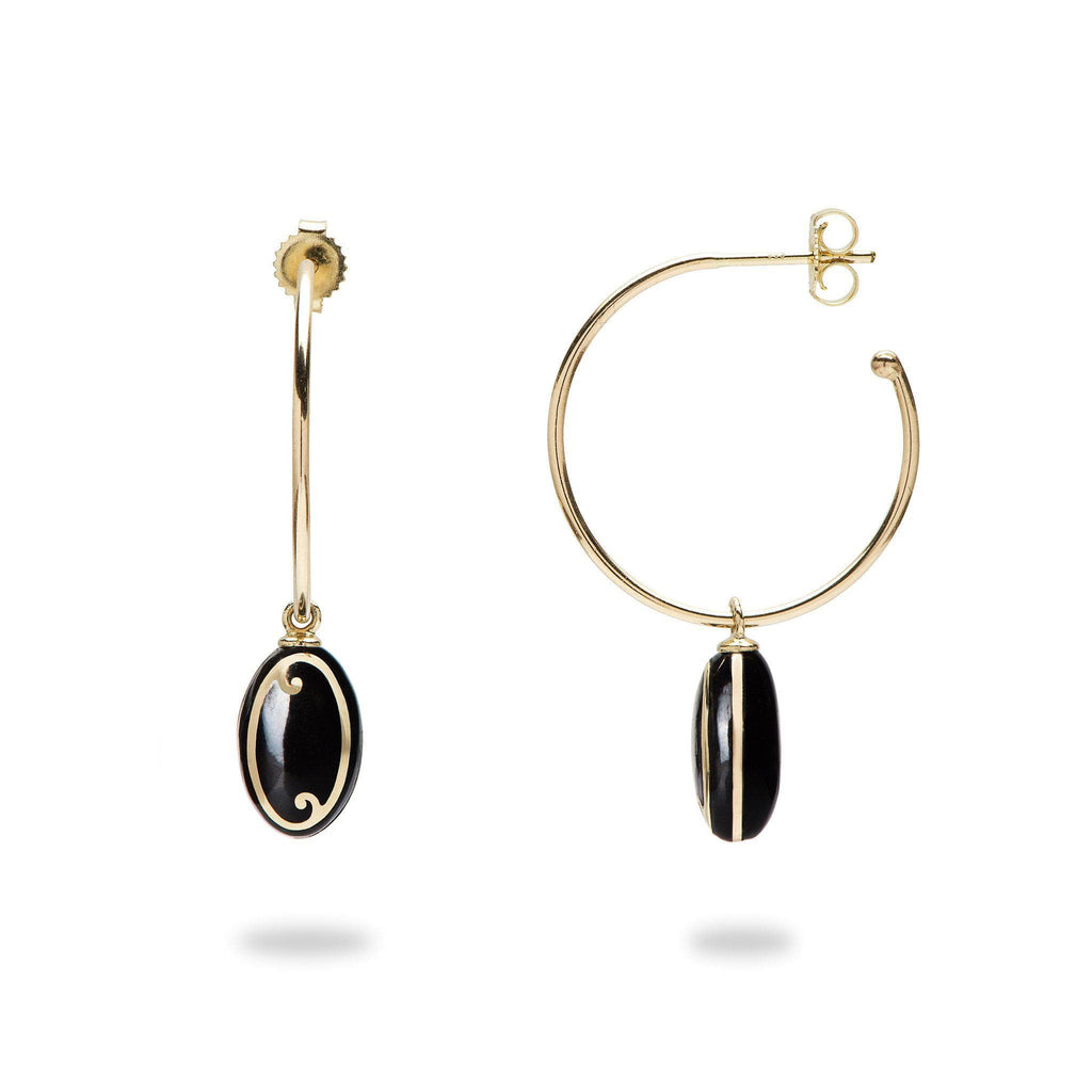 Endless Ocean Black Coral Earnings in 14K Yellow Gold