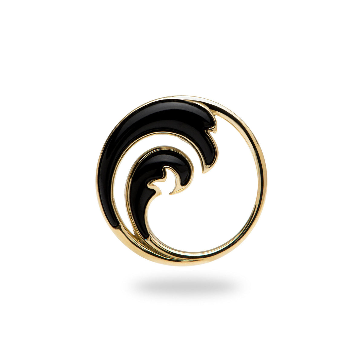 yellow gold wave pendant with Hawaiian Black Coral