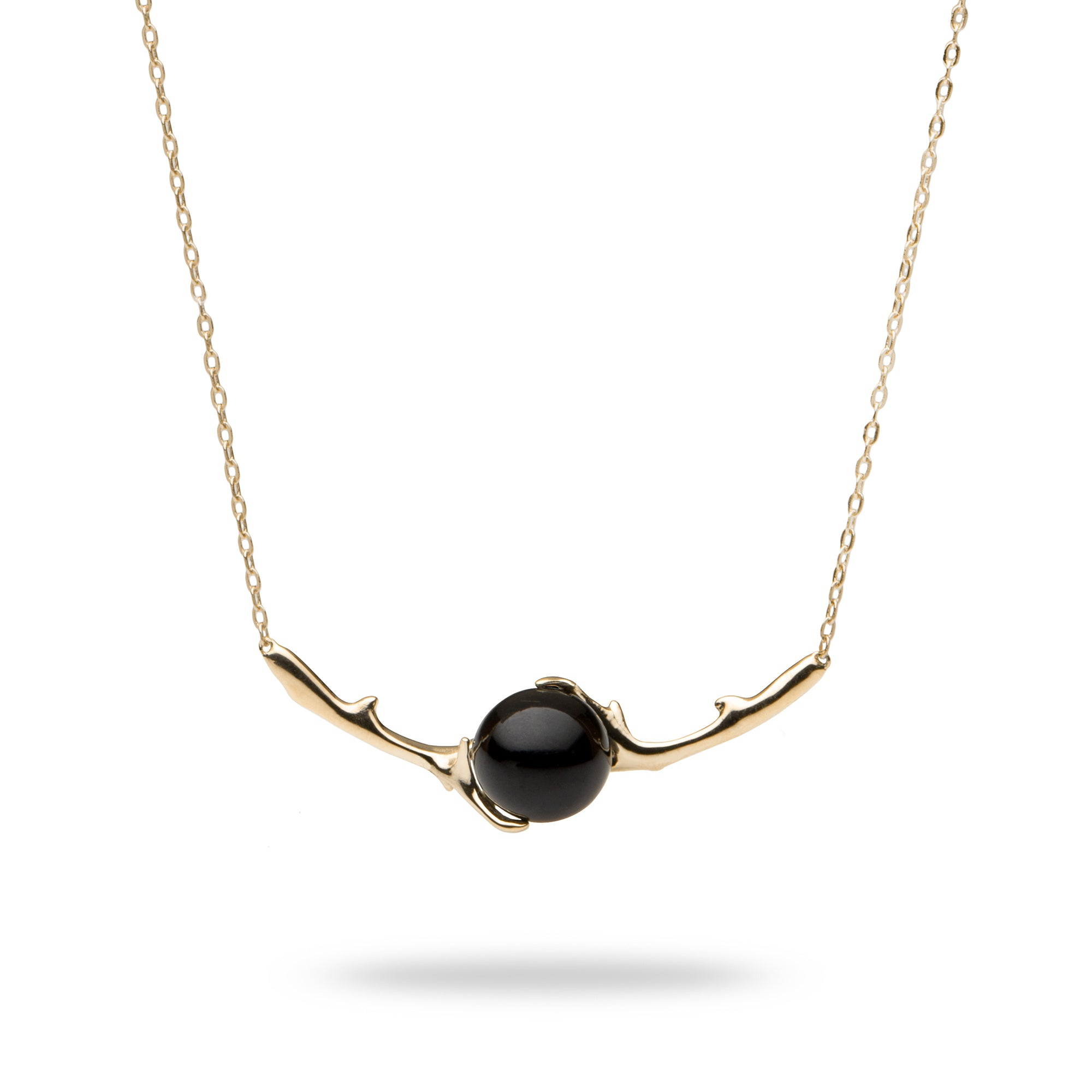 Hawaiian Heritage Black Coral Necklace in 14K Yellow Gold (9-9.9mm) - Maui Divers Jewelry