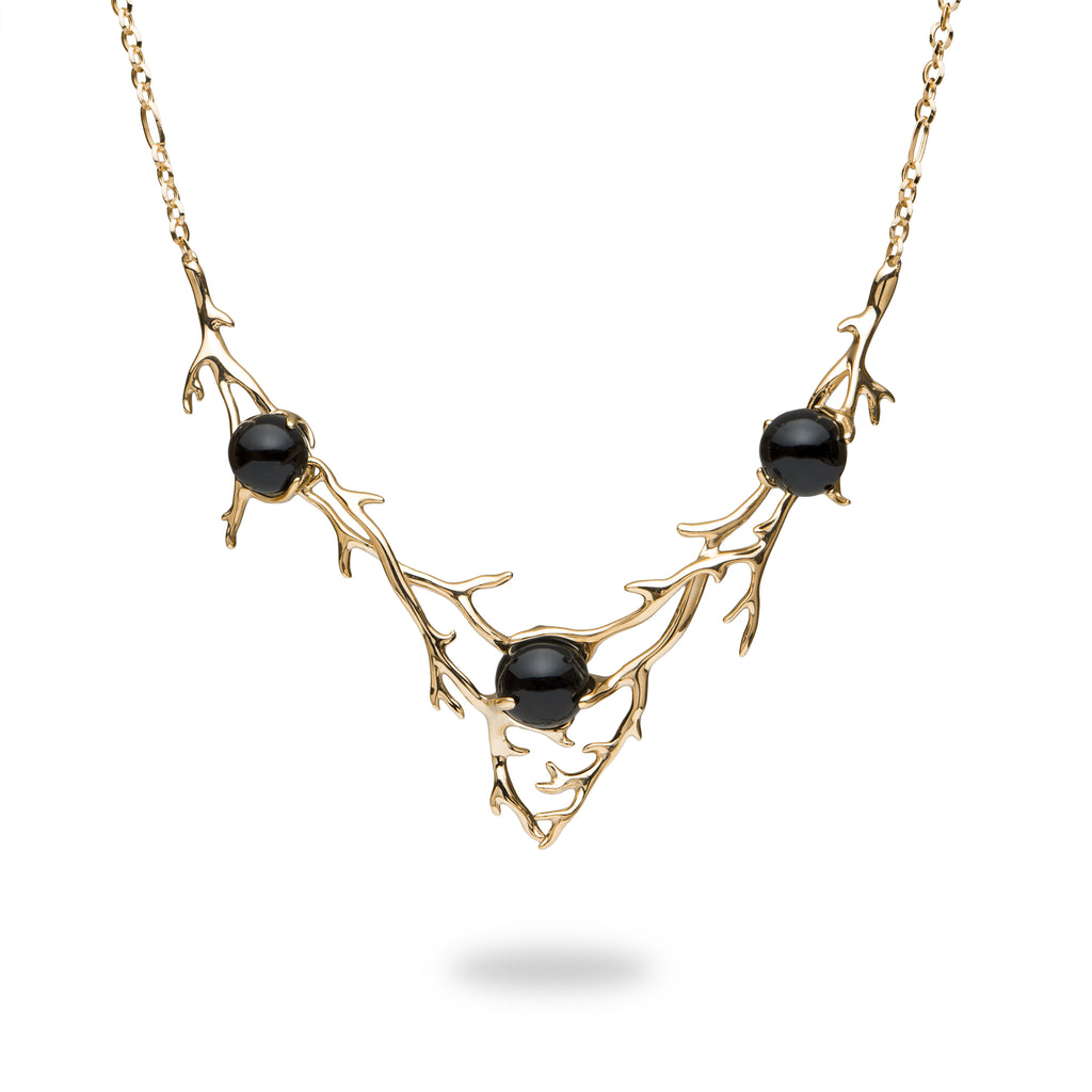 Hawaiian Heritage Black Coral Necklace in Gold-[SKU]