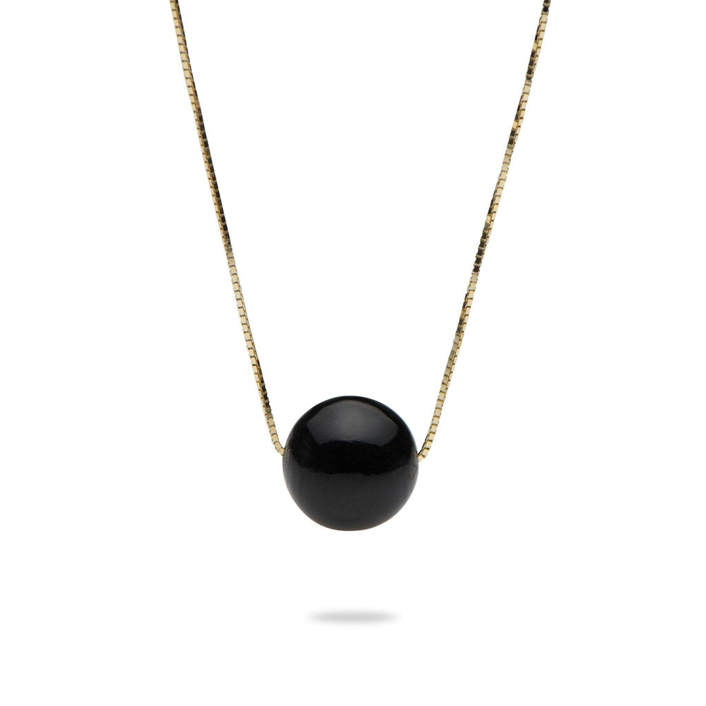 Black Coral Bead Necklace in 14K Yellow Gold